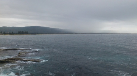 North Wollongong shoreline with a cloudy welcome