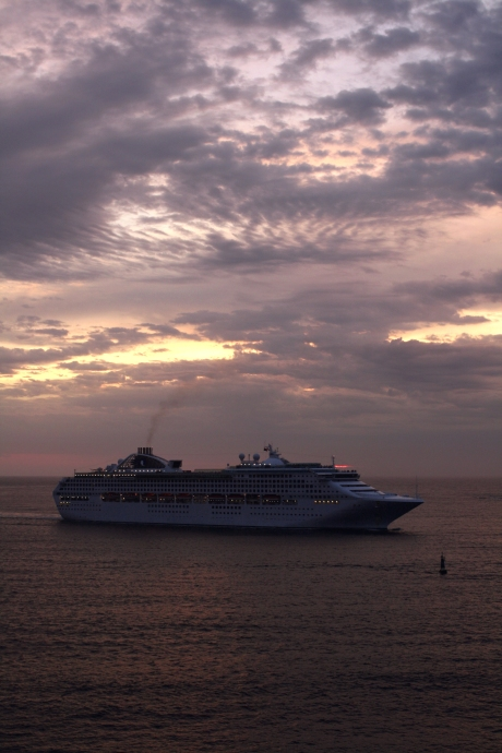 Middle Harbour Sunrise - Cruise Ship entering Sydney Harbour