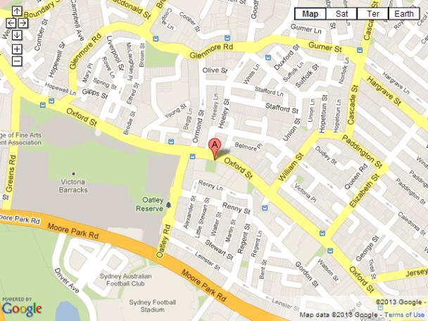 Google Maps - Paddington Reservoir Gardens