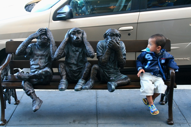 3 Monkeys on a bench with their Chief