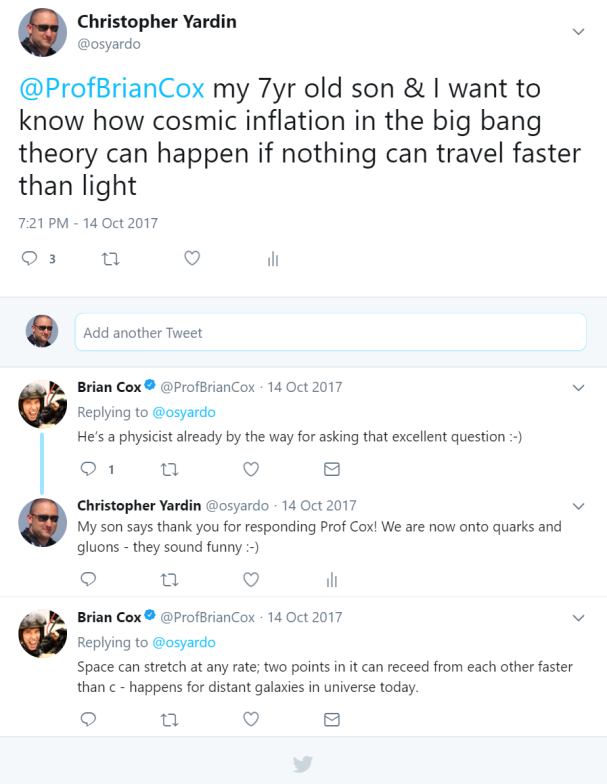 Tweet response from Professor Brian Cox