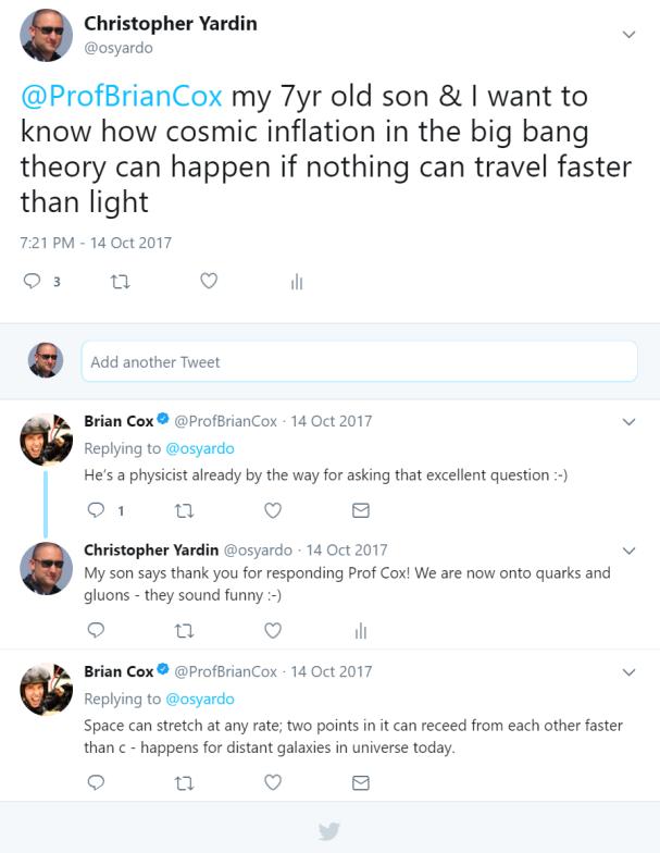 Tweet response from Professor Brian Cox